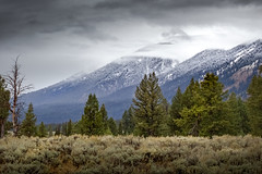 low clouds and snow (Christian Collins) Tags: canoneosrebelt2i ef70200mmf4lusm canon teton mountain tetons fog dusting fall 2016 september wyoming grandtetonnationalpark turnout view vista sage pines