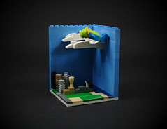 05 - Skydiver (CeciΙie) Tags: lego moc skydiver vignette vig micro city skyscraper minifig collectible cmf