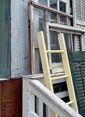 Yellow Ladder - Urban Still Life (WhiPix) Tags: 2795 ladder oceancity newjersey rail window