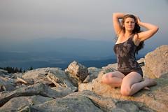 Alexa (austinspace) Tags: woman portrait spokane mtspokane mount mountain summit granite rock brunette dress barefoot smoke haze sunset dusk magichour