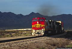 Santa Fe Super Fleet (jamesbelmont) Tags: santafe atsf superfleet bannock california deadmountains goffshill train railroad railway locomotive ge b408w trailers intermodal