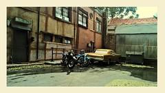 Pontiac and Motorcycles (gpholtz) Tags: diorama miniatures 118 diecast 1967 pontiac gto flathead motorcycle harleydavidson