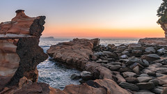Rocky Sunrise Seascape (Merrillie) Tags: horizon color nature bay surf beauty background newsouthwales sea nsw beach ocean coastal wave outdoors avoca dream landscape rocky centralcoast waterscape rockshelf rocks sunrise longexposure scene coastline water beautiful travel holiday sky australia scenic seascape light coast dawn avocabeach