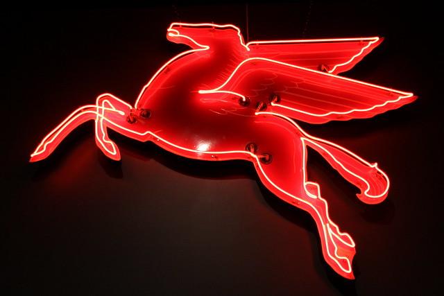 Mobil neon sign Pegasus