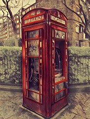 London England  ~ Telephone Booth and ATM  ~ Architecture (Onasill ~ Bill Badzo ~~~~ OFF) Tags: london england united kingdom telephone booth atm architecture onasill historic landmark symbol british iconic red boxed converting cash machines disappearing kiosk decommissioned attraction site photography hdr