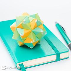 Origami Sonobe (Maria Sinayskaya) Tags: ef31k2 folded jongienara kamipapercolorwhite kusudama mariasinayskaya modularorigami origami origamisonobe square мариясинайская