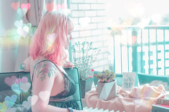 (shinebrightx) Tags: colorful pastel pastelcolors bokeh ranbow lights cute kawaii soft people girl pinkhair colorfulhair pastelhair flowers nature plants succulents