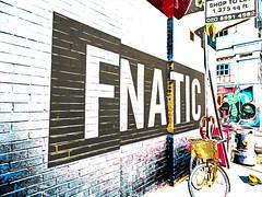 F'NATIC (Steve Taylor (Photography)) Tags: fnatic shoptolet basket dustbin fanatic art digital mural streetart contrast black white yellow uk gb england greatbritain unitedkingdom london bike bicycle cycle