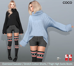 COCO_Fameshed_September (cocoro Lemon) Tags: coco newrelease fameshed secondlife fashion mesh sweater shorts boots maitreya slink