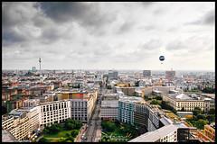 B E R L I N (Krueger_Martin) Tags: architecture architektur berlin sky wolken clouds view aussicht panoramapunkt fernsehturm colorful bunt farbig leipzigerplatz leipzigerstrase strase street traffic verkehr hdr photomatix skyline weitwinkel wideangle ultraweitwinkel canoneos7d city stadt urban