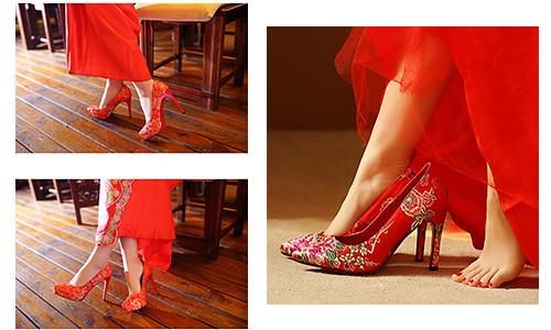 拍照鞋,婚鞋,宴客基本款,紅色禮服,新娘