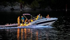 Boy's night out (Christie : Colour & Light Collection) Tags: boaters fun happy pleasurecraft bowrider casual sunset summer evening fraserriver river reflections bc canada cruising men guys boysnightout water cuddy swimgrid swimplatform bow boat wake shimmer