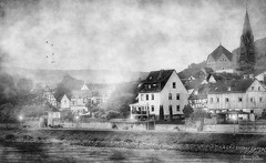 sleepy village . . . (YvonneRaulston) Tags: rhine valley river europe texture germany fineartgrunge creativeartphotography photoshopartistry sony light morning blackandwhite bw monochrome fog mist peaceful