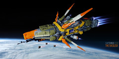 SHIPtember 2017: The Basilisk (Brixnspace) Tags: ship shiptember space spaceship basilisk olive orange lego battlecruiser tank drones earth spacescene