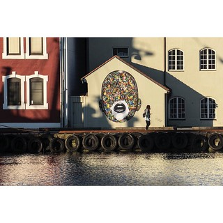 @martinwhatson's work basking in early morning sun. Long shot across the port in #Stavanger #wallkandy #art #streetart #martynwhatson #fb #f #t #p #mural #graffiti #norway