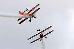 Wing Walkers (Bernie Condon) Tags: scampton rafstation military aribase base station airshow 2017 flying display aircraft plane uk lincs royalairforce raf breitling wingwalkers girls ladies aerobatics wingwalking aerosuperbatics boeing stearman trainer vintage classic preserved biplane