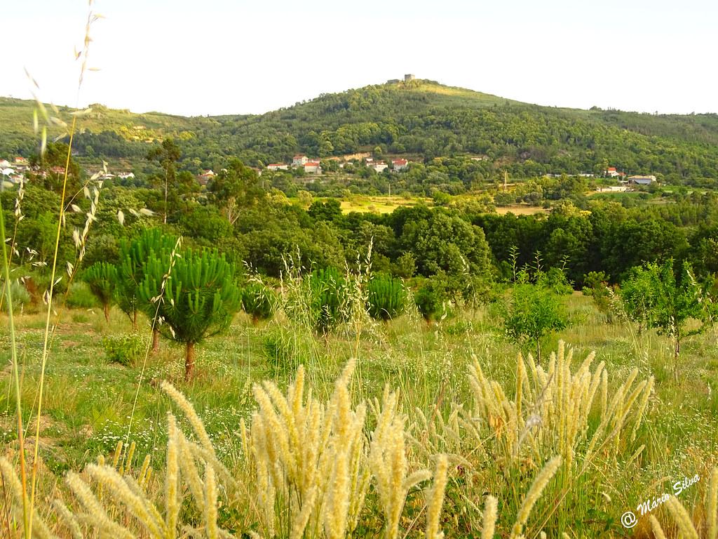 Águas Frias (Chaves) - ... os campos, a Aldeia e o castelo de Monforte de Rio Livre no alto do Brunheiro ...