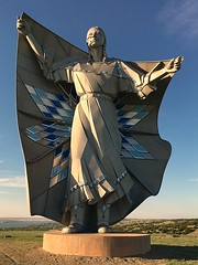 Dignity - Explored 8/14/2017 (Jayhawk Explorer) Tags: ipiccy iphone statue sculpture dignity lakota dakota dale lamphere missouririver river dalelamphere chamberlain i90 southdakota vacation roadtrip nativeamerican culture art metal lakefranciscase