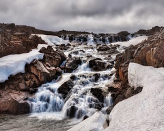 Frosty Falls (Stuck in Customs) Tags: iceland stuckincustoms icelandic treyratcliff waterfall river ice frost snow smooth rock rocks clouds hdr hdrphotography hdrtutorial hdrphoto trey ratcliff stuck in customs