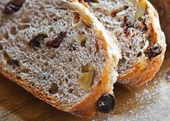 Nut and Raisin Bread (Through Serena's Lens) Tags: tabletop flour macro dof flavour fresh textures currant raisin nut walnut hmm indoor kitchen macromondays bread eos6dmarkii canon fruit