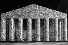 """The Parthenon of Books"" (helmet13) Tags: d800e raw bw exhibition documenta14 theparthenonofbooks germany artwork martaminujín kassel people column books aoi heartaward peaceaward 100faves world100f"