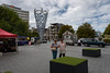 Out With a Friend (Jocey K) Tags: newzealand nikond750 southisland christchurch architecture sky clouds buildings cbd city people trees cathedralsquare foodvan sculpture demolition