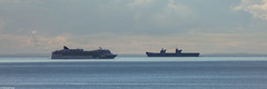 The cruise ship Norwegian Jade, IMO 9304057, and HMS Queen Elizabeth, R08, IMO 4907892, pass in the Moray Firth (Michael Leek Photography) Tags: hmsqueenelizabeth hmsqueenelizabethr08 queenelizabeth aircraftcarrier nato warship cruiseship norwegianjade norwegiancruiseline norway bahamas nassau rn moray morayfirth sea seatrials britainsarmedforces britainsnavy navy passengervessel passengership scotland scottishshipping michaelleek michaelleekphotography