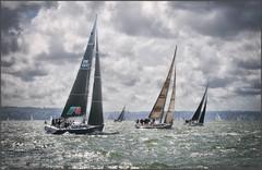 Fandango follows Rocket Dog II (Roger Simon 2017) Tags: sail sailing cowes solent sea backlit contrejour timeline