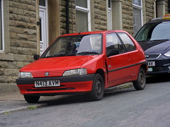 Peugeot 106 Phase 1 (Lawrence Peregrine-Trousers) Tags: ugeot 105 phase 1 red eugeot peugeot dented wing
