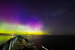 Universal Colors (matthewkaz) Tags: auroraborealis northernlights pointbreeze oakorchardcreek kent carlton lakeontario lake ontario greatlakes water reflection reflections lights pier breakwall sky astronomy astrophotography stars night dark aurora newyork longexposure 2017