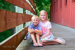 M and L (shirley319) Tags: 2017 botanicalgardens d600 july kellie lakeofthewoods layne maberygelvinbotanicalgarden maddie mahomet olsens coveredbridge portraits red siblings illinois unitedstates
