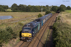 68005 trails past Gillets bridge Postwick working 1804 Norwich - Great Yarmouth 2P34 15/8/2017 (Paul-Green) Tags: postwick gillets bridge aga abellio greater anglia passenger srvice class 68 68005 68028 vossloh eurolight diesel engine loco uk gb railways flickr canon camera sun fields stock outdoors august 2017 2p34 1804 norwich gt great yarmouth
