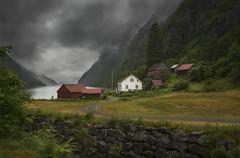 Hylen - D8F_5264 (Viggo Johansen) Tags: hylen houses clouds fog mountains fjord fields forest rogaland