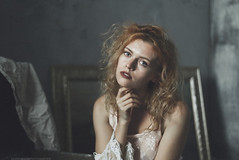 Kate (valerio magini ph) Tags: portrait woman red hair head face lips blue eyes picture painting oil frame sheet white