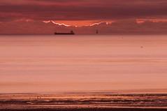 Maritime mirage (ColmDub) Tags: kishlighthouse dublinbay ship sunrise dawn nikon d90 teleconverter