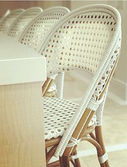 French Bistro Bar Stool, WH-141 Weave: Cannage, Color: White, Wood Finish: Light Honey. (Christopher Steffy) Tags: frenchbistrobarstool rattan custom handmade