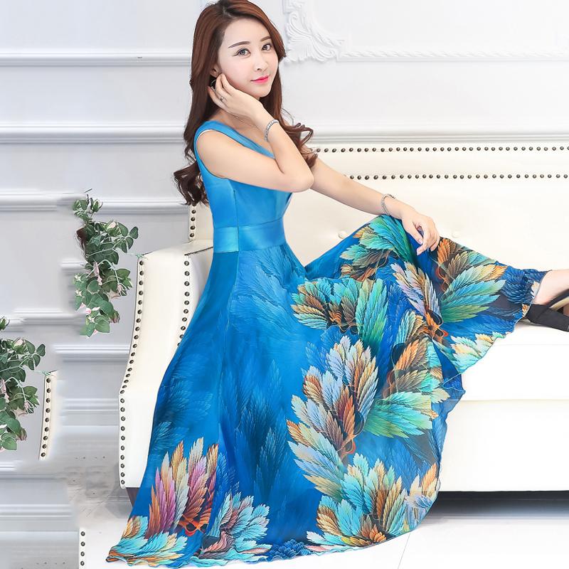Meow cotton 2017 summer dress, new sleeveless chiffon dress, V collar sling, print dress, holiday beach skirt
