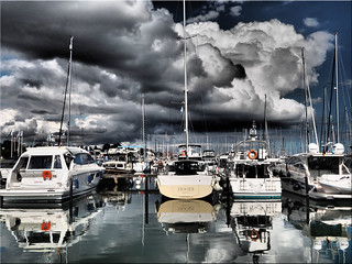 Dramatic sky over the harbor of Grömitz / Baltic Sea