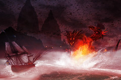 Defeat (Christoffer Boman) Tags: dragon fight fantasy fire conceptart design digitalart ship battle war sea landscape digitaldesign birds evil red