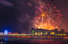Weston pier fireworks display (technodean2000) Tags: weston super mare fireworks display pier grand light nikon d610 lightroom glow bang outdoor architecture bridge night d810