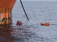 Moored on the downlines (SPMac) Tags: chains mooring giant beneath boom flare hose offload arctic circle barents sea norway eni norge goliat fpso 71227 floating production storage oil gas ldc light diving craft frc fast rescue divers maintenance inspection drill test moored buoys