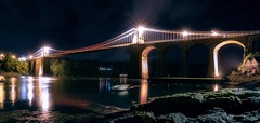 Menai (Ollie Pocock) Tags: cityscape dark nighttime northwales suspensionbridge lights water bridge nightscapes night anglesy wales