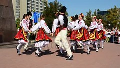 Bulgarian dance. (daria.boteva) Tags: area attractive authentic beautiful berdyansk bulgarian celebration city colorful costume cultural culture dance dancer dress ethnic folk folklore holiday music national people perform performance play pretty splendid style tradition traditional ukraine