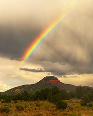 DSC_0009-11 red rock mountain rainbow hdr 850 (guine) Tags: redrockmountain trees grass plants rock butte mountain clouds storm monsoon rainbow hdr qtpfsgui luminance