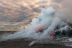Sizzle (Bob Bowman Photography) Tags: lava hawaii kalapana volcano ocean steam clouds 61g seascape pacific