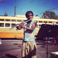 Music (Jamison Wieser) Tags: flute music janewarnerplaza castrodistrict sanfrancisco musician streetcar trolley