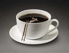Coffee Kayaking (Lightcrafter Artistry) Tags: coffee cup kayak photoshop art collage