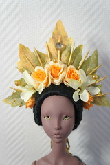 Art wig making on Lillycat Ellana in dark tan (jeanette.elfving) Tags: bjd bjdwig lillycat ellana artwig bjdcreation