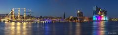 Hafenpanorama - 04081701 (Klaus Kehrls) Tags: hamburg hamburgerhafen panorama elbphilharmonie segelschiffe schiffe elbe nachtaufnahme lightshow