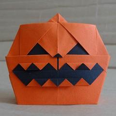 Jack'o'lantern by  Hideo Komatsu   [Hideo Komatsu challenge 18/50] (Orizuka) Tags: origami pumpkin jackolantern hideokomatsu hkchallenge halloween